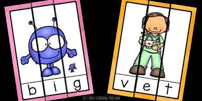 10 CVC Word Puzzles  These free word puzzles are a fun way for kids to practice blending sounds together to create CVC words. The words included are:cat bat vet wet big dig jog log tug and bug. Download them from Liz's Early Learning Spot then just print cut and go!   Till next time!    CVC words Liz's Early Learning Spot PK-2 Word Families word puzzles