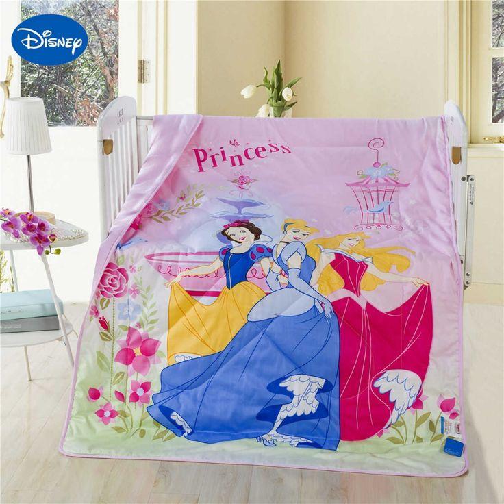Cartoon Princess Cot Crib Quilts Comforters Disney Bedding Cotton Wowen 120*150CM Baby Girls Bedspread Summer Season Soft Pink
