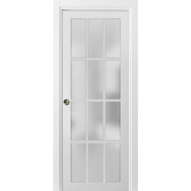 Sliding French Pocket Door 28 X 80 Inches With Frosted Glass 12 Lites Felicia 3312 Matte White Kit Trims Rail Hardware Solid Wood Interior Bedroom Sturdy In 2020 Closet Doors Sliding Closet Doors French Pocket Doors