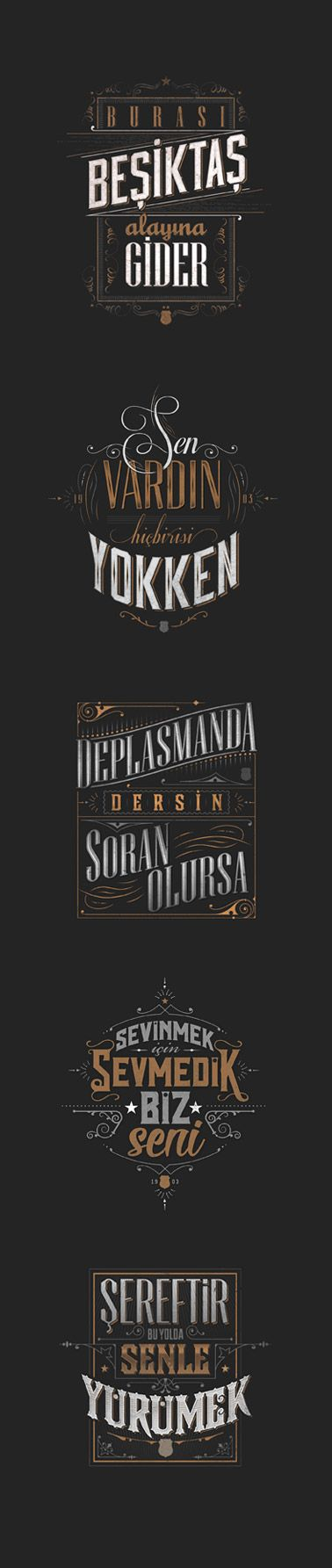 Typographic posters and t-shirts inspired by widely popular fan chants for the Turkish football team Besiktas JK. #besiktas #carsi #bjk #typography #vintage