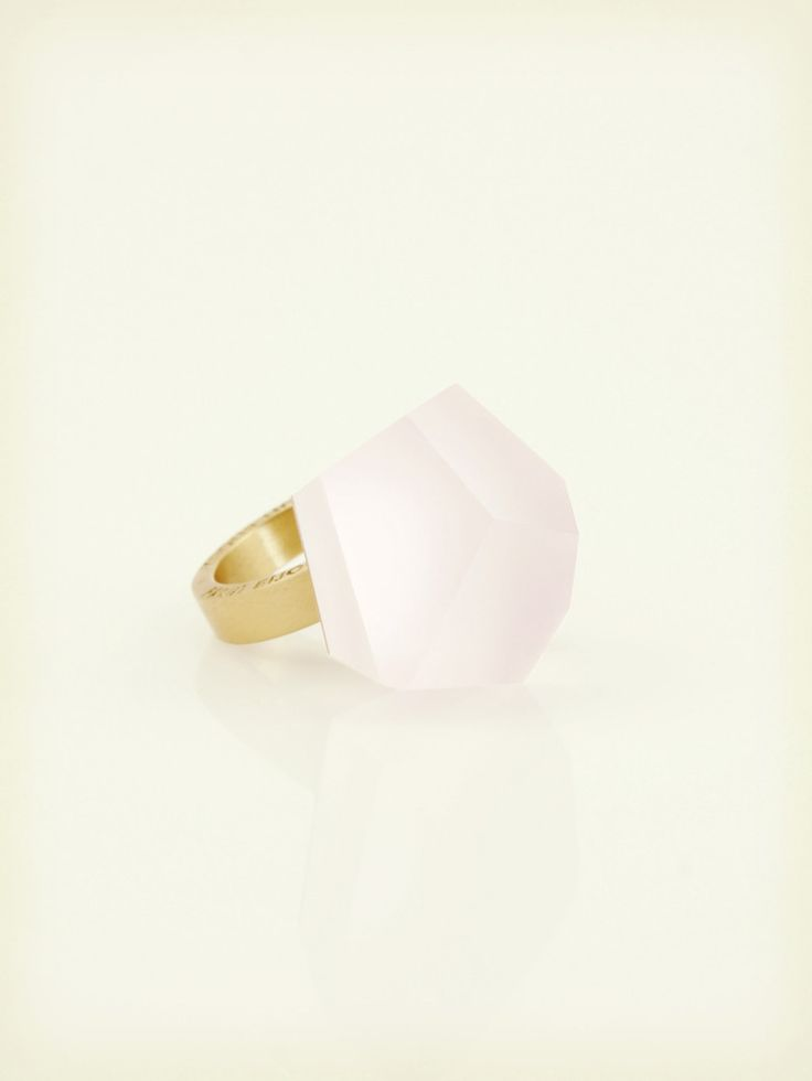 Fruit Bijoux, VU, gold ring, light pink. To download high or low resolution product images view Mondrianista.com (editorial use only).