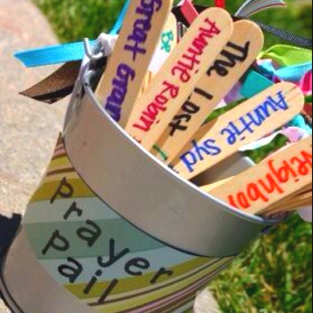 Prayer Pail to teach kids how to pray, give ideas- choose one a night for family prayer and pray for that thing or person- thankful and bless! Love this idea for kids!!!