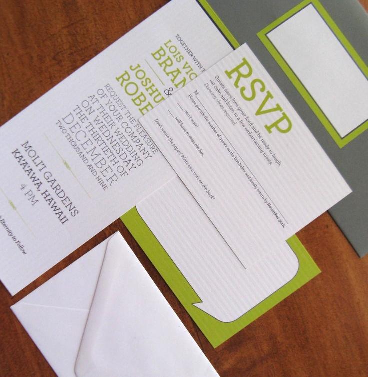 Modern Lime Green and Gray Wedding Invitations (sample). $4.00, via Etsy.