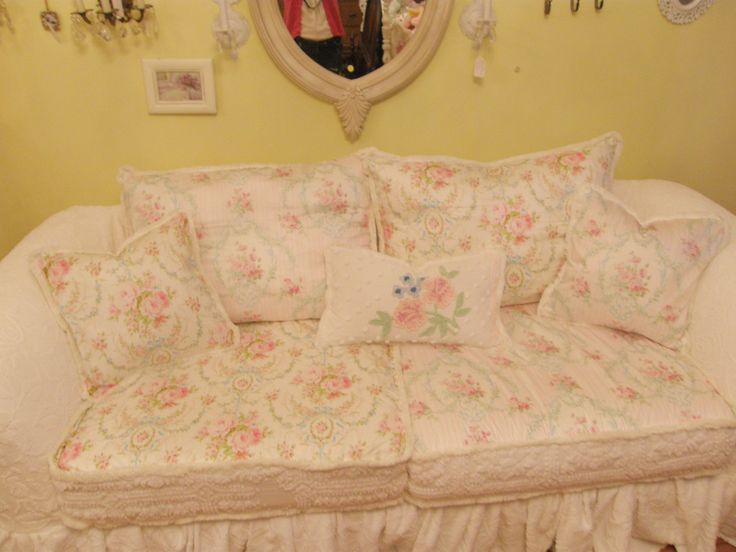 My New Sofa Creation Slipcovered In Vintage Chenille Roses Bedspreads
