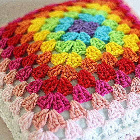 Crochet Rainbow Pillow colorful cushion crochet cushion by ooty