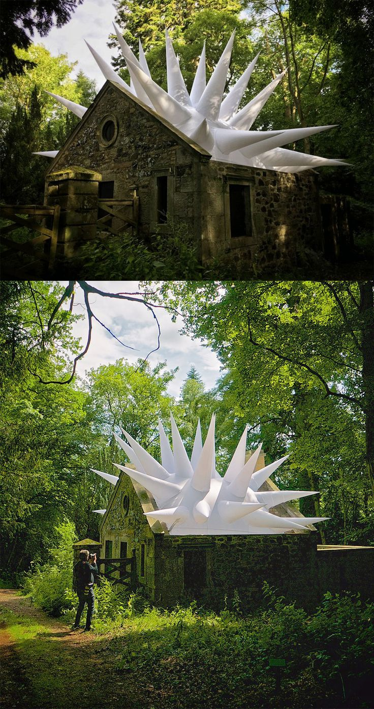 An Inflated Roof of Spikes Protrude From a Crumbling Scottish Gatehouse