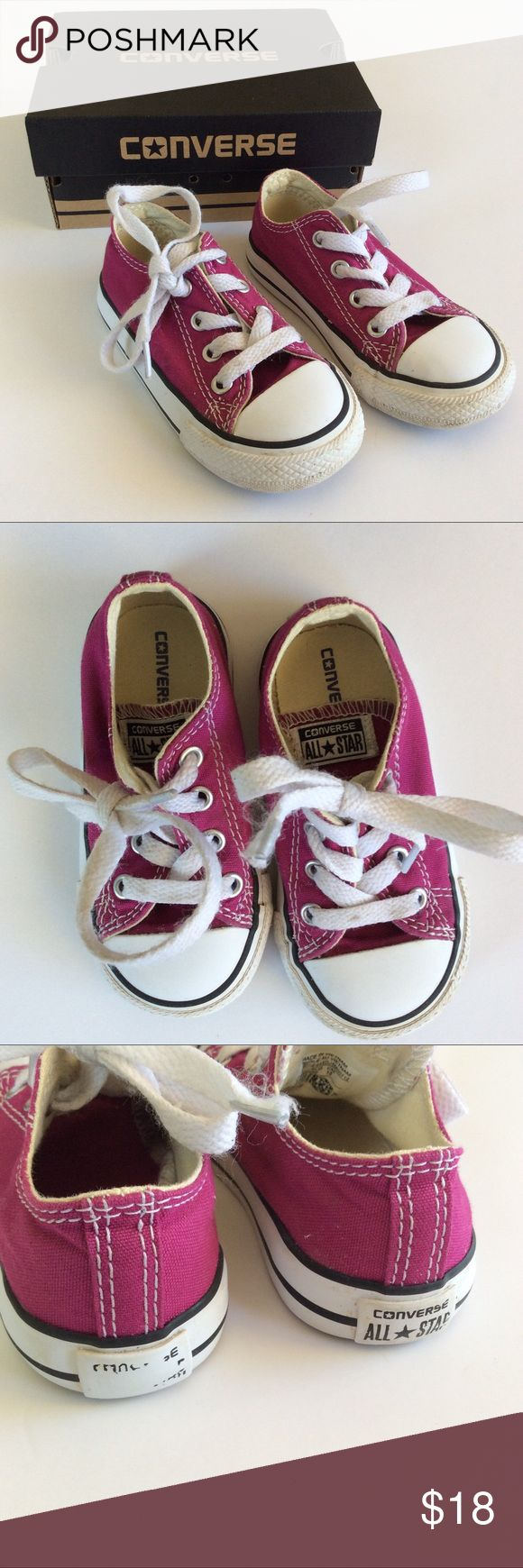 [Converse] Chuck Taylor All Star Low Top Sneaker Converse infant (toddler) size 6. Color is pink sapphire, but in my opinion they look more purple. Gently used, in really good condition! Only flaws are one of the clear plastic shoelace ends came off, and some of the writing on the back heel came off when I was cleaning them. See photos 3 & 4. Insides and uppers are very clean. Comes with original box. Converse Shoes Baby & Walker