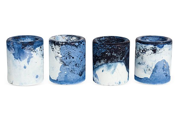 Marbled Indigo Cement Candle Votives. #coloreveryday