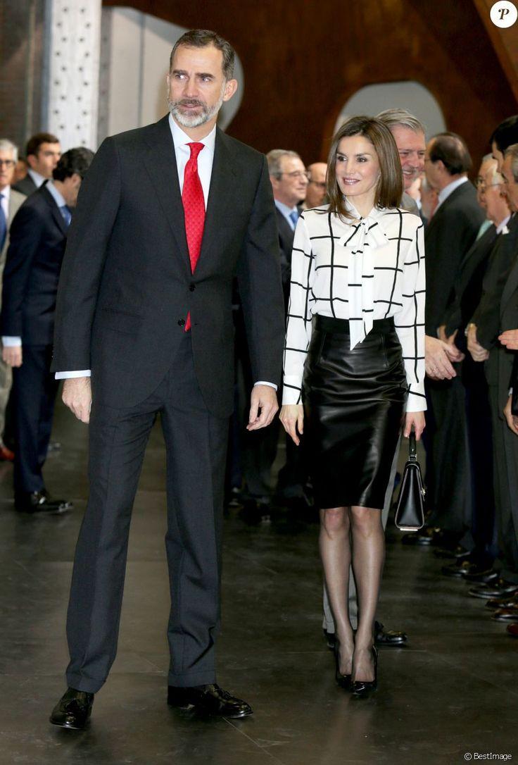 La reine Letizia d'Espagne dans un look rappelant l'un de ceux portés par la reine Rania de Jordanie en visite officielle à Madrid en novembre 2015, lors de la clôture du projet de la fondation Telefonica à Madrid le 13 février 2017, au cours de laquelle le roi Felipe VI intervenait.
