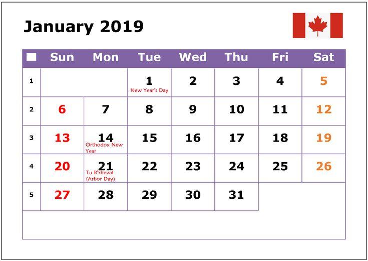 January 2019 Calendar Canada Public Holidays 101+ Free January