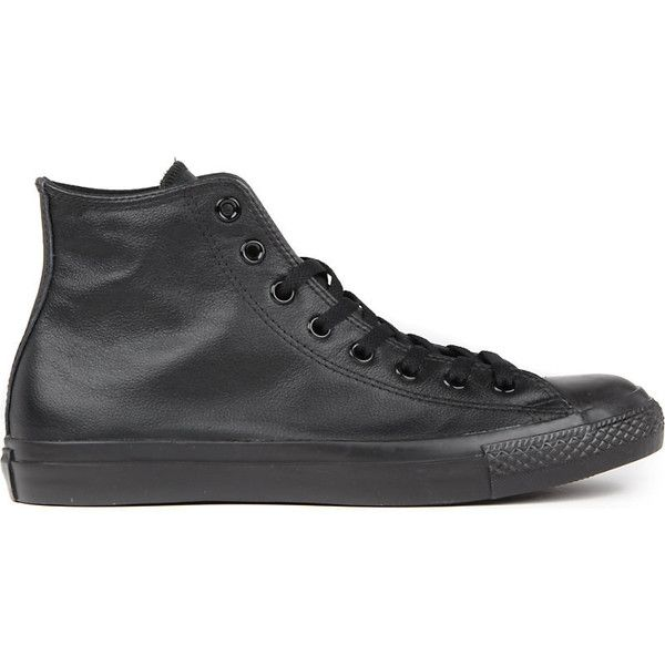 Converse All Star leather high-top trainers ($64) ❤ liked on Polyvore featuring shoes, sneakers, mens black shoes, mens high top shoes, mens black leather shoes, mens hi tops and mens leather high tops