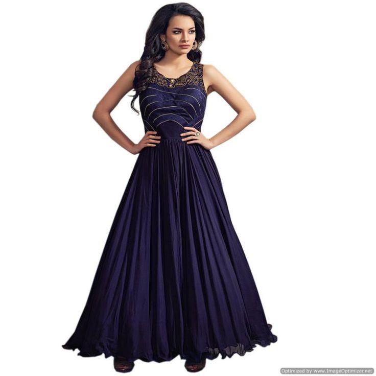 Latest Designer Navy Blue Embroidered Anarkali Suit
