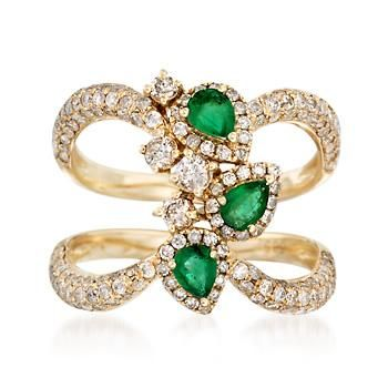 1.15 ct. t.w. Diamond and .40 ct. t.w. Emerald Open Space Ring in 14kt Yellow Gold
