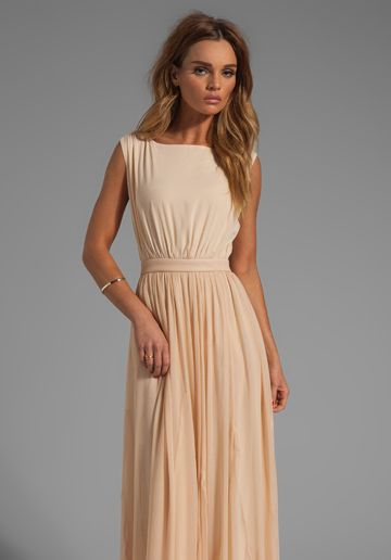 ALICE + OLIVIA Triss Sleeveless Maxi Dress with Leather Trim in Almond Cream - New