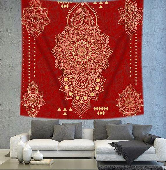 Mandala tapestry Red mandala wall hanging by Christinedecorshop