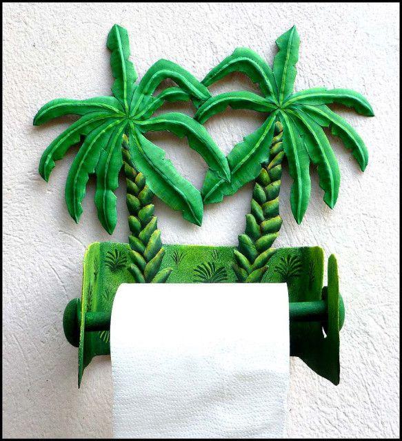 Toilet Paper Holder   Bathroom Decor  Hand Painted Metal Banana Tree Design    Towel Holder
