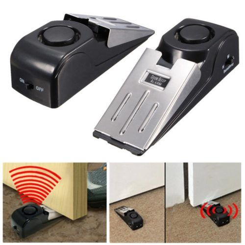 Home Security Electronic Door Stop Alarm 120 dB alarm Alerts Alerts you to the attempted entry An adjustable sensitivity switch prevents tampering Great for Travel Requires one 9 volt battery – not included.