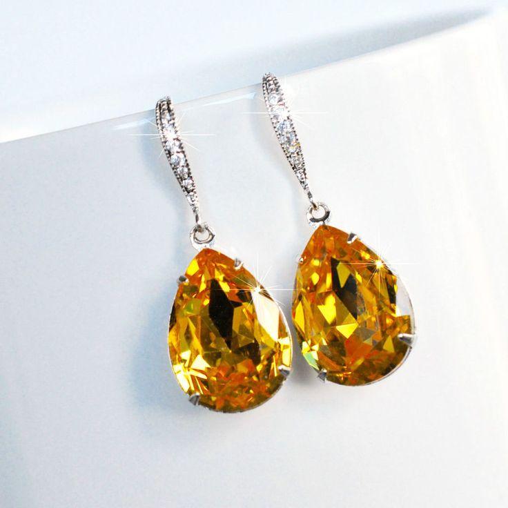 Handmade Dark Yellow Swarovski Topaz Pear Crystal Dangle (Sparkle-2503-U)