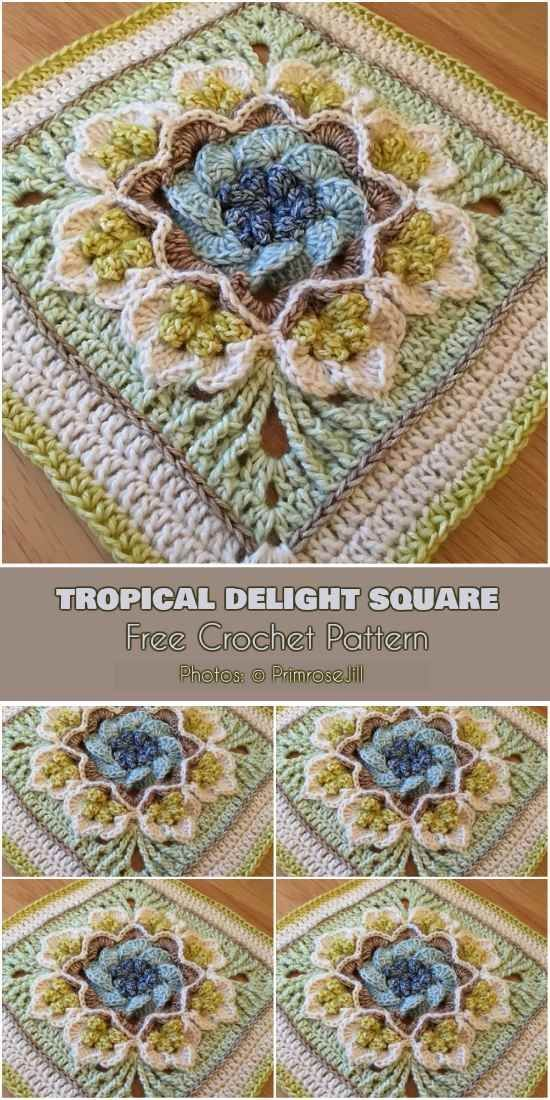If you need a beautiful idea for the next afghan, don't look any further. The Tropical Delight Square designed by Susan Stevens will be perfect for your next project. You can use only one square of tropical delight to add eye-catching accent to your project or to make a a project based on squares li #crochetedflowers