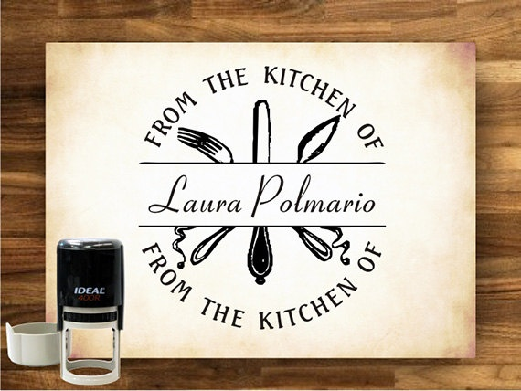 From the Kitchen of Rubber Stamp - Custom - SELF INKING - 9005. $28.00, via Etsy.
