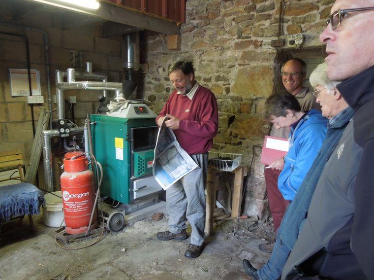 Eden Bank Farm, Ormside:  Jonty Rostron demonstrates his Log Burning Boiler - Green Open Homes 2014