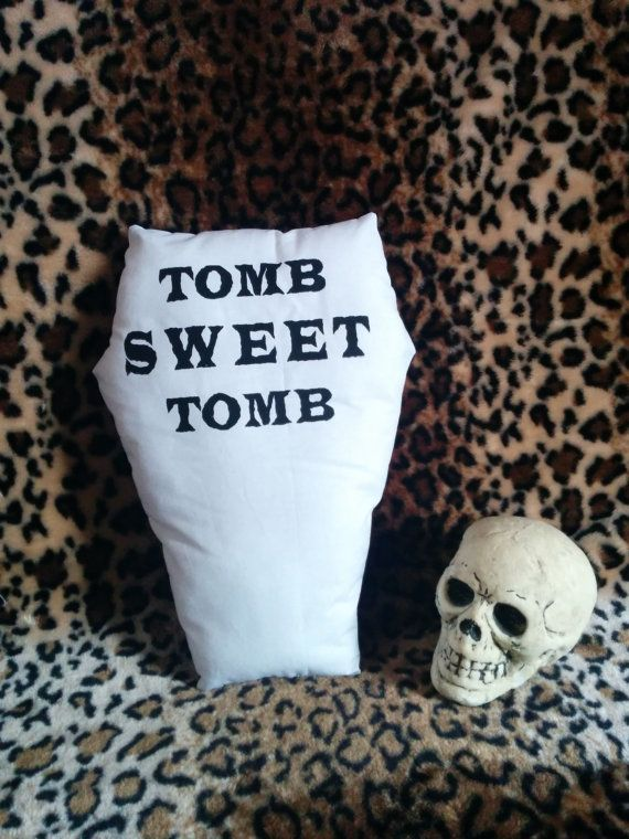 Tomb Sweet Tomb White Coffin Pillow by GraveEndeavours on Etsy