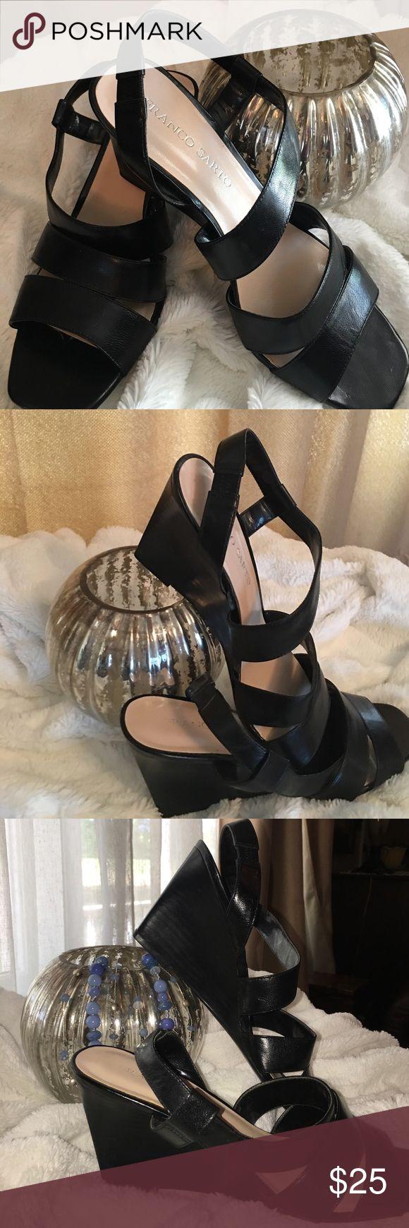 Franco Sarto Black Leather Upper Dressy Sandal Great Condition, Franco Sarto Black Leather Upper Dress Sandal Wedges with Sassy Cross-Over Strap Franco Sarto Shoes Wedges