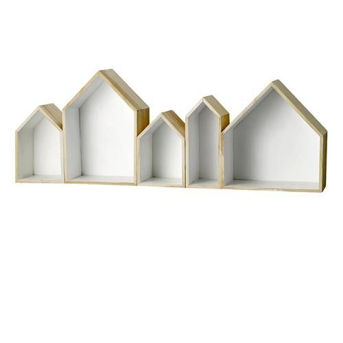 Bloomingville Set of Five House Storage Boxes - Natural and White