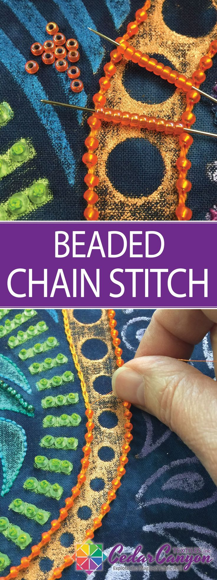 Beaded Chain Stitch is a simple two-step method for adding beads to hand embroidery from Shelly Stokes at CedarCanyonTextiles.com
