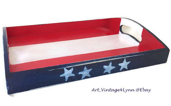 Wood serving tray painted in red, white, blue US flag theme at #Art_Vintage4Lynn #Ebay to buy click image #MemorialDay #SummerHoliday #IndependenceDay #July4th #Patriotic #Americana #CountryDecor #USflag #RedWhiteBlue #Military #MilitaryPride #BackYardBBQ #RusticDecor #OldGlory #Handmade #ServingTray #Centerpiece
