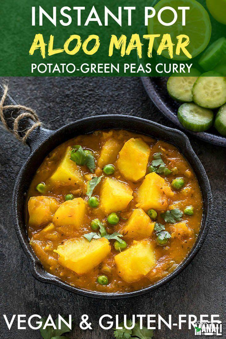 Einfaches indisches Kartoffel-Erbsen-Curry aus dem Instant Pot! Geht gut mit …