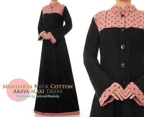 Black Button Down Summer Cotton Linen Long by Tailored2Modesty