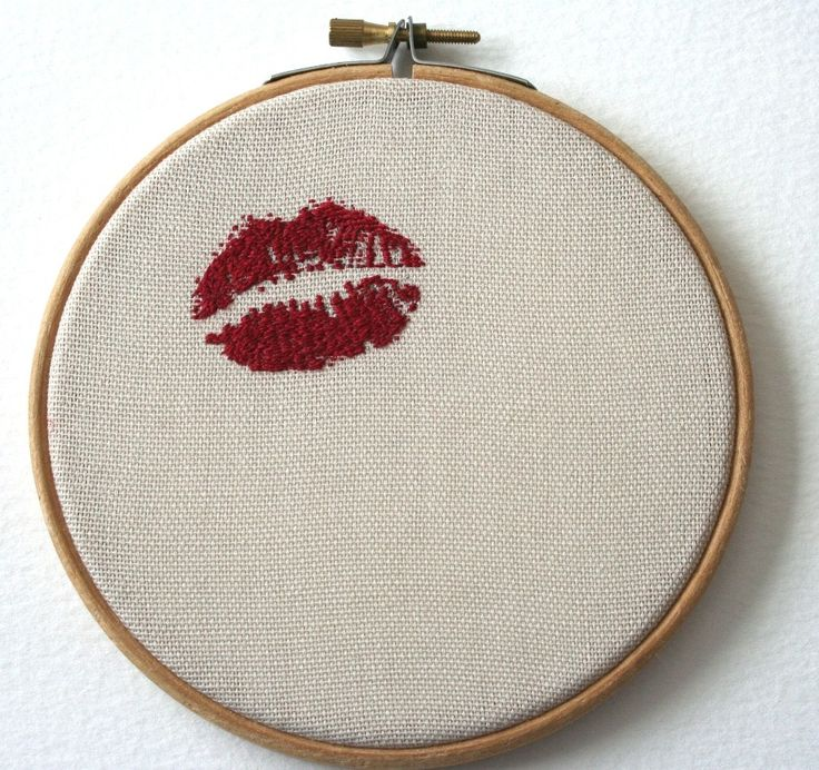 Lipstick Traces Wooden Framed Hand Embroidered by SamPGibson