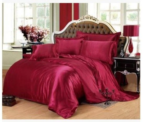 Silk bedding set Wine red california king size queen full twin fitted satin sheets duvet cover bed in a bag bedspread doona 6pcs