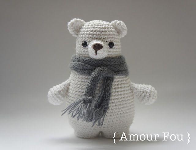 #crochet, free pattern, amigurumi, stuffed toy, polar bear, #haken, gratis patroon (Engels), ijsbeer, beer, knuffel, speelgoed, #haakpatroon