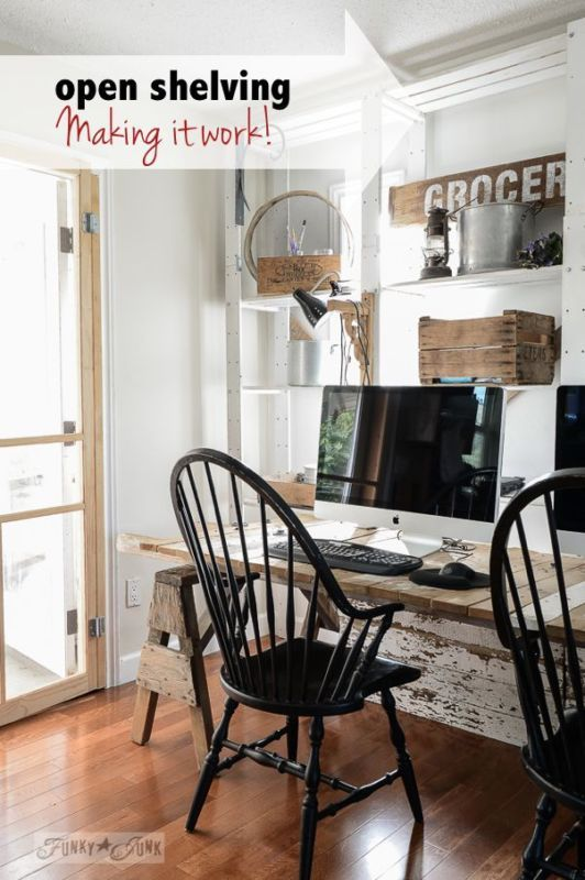 funky office decor. how to make open shelving work funky office decor