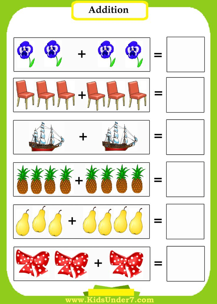 Preschool Math-Addition Worksheets. Introduce preschoolers to math using pictures to count. Printable sheets. Click on coloring page image...