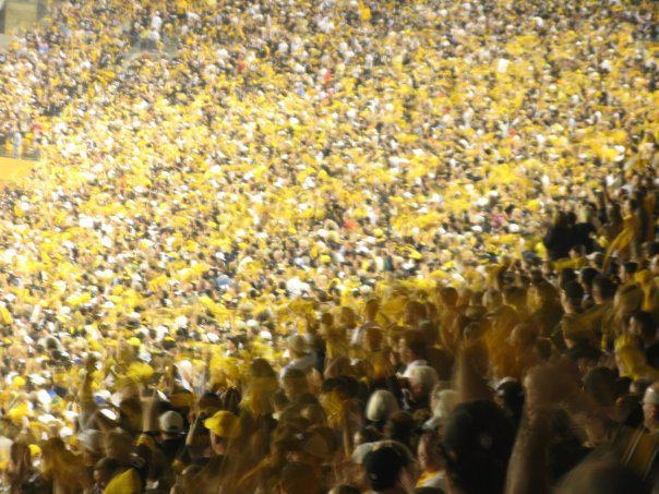 The World's Largest Terrible Towel Wave when the Pittsburgh Steelers asked fans around the world to simultaneously wave their terrible towels against the New York Jets in the 2005 NFL playoffs. It worked. We won.