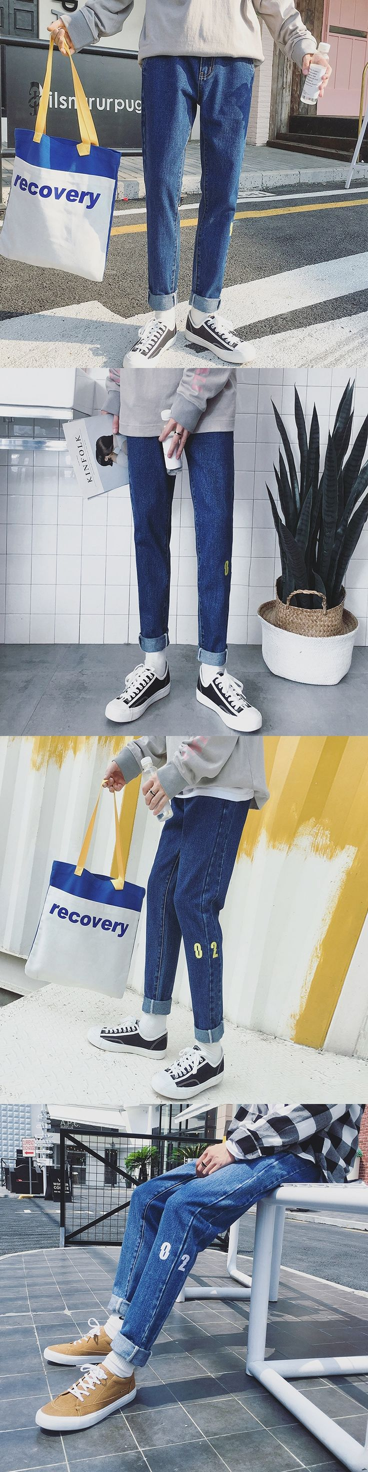 2017 Winter Men's Fashion Hongkong Style All-Match Nine Jeans Embroidered Pants Bound Feet Solid Color Straight Trousers S-4XL