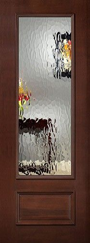 """8'0"""" Tall Privacy Glass 3/4 Lite Pre-finished Mahogany Wood Door Slab"""