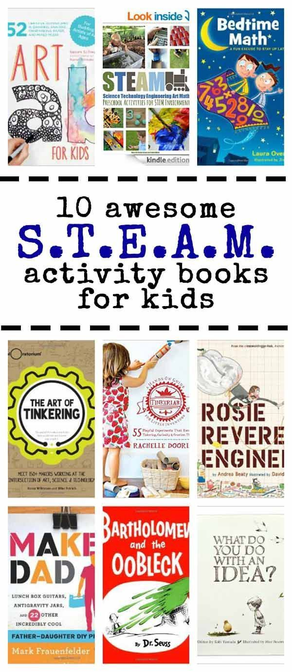 10 fun activity books with STEAM (science, technology, engineering, art & math) ideas for kids.