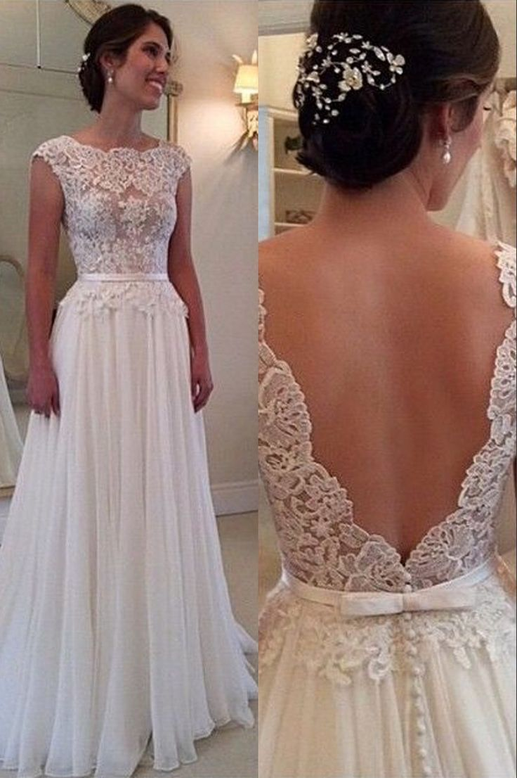 Lace Chiffon Backless A-line Wedding Dresses Capped Sleeves Sweep Train Summer Bridal Gowns
