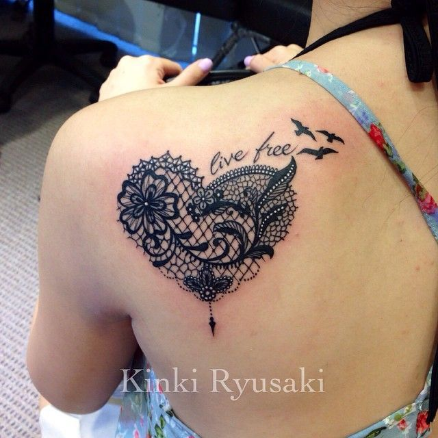 Lace Tattoo Heart on Pinterest | Lace Tattoo Lace Butterfly Tattoo ...