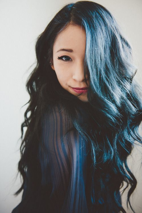 Navy blue and black long soft curls/waves. I reeeally want ...