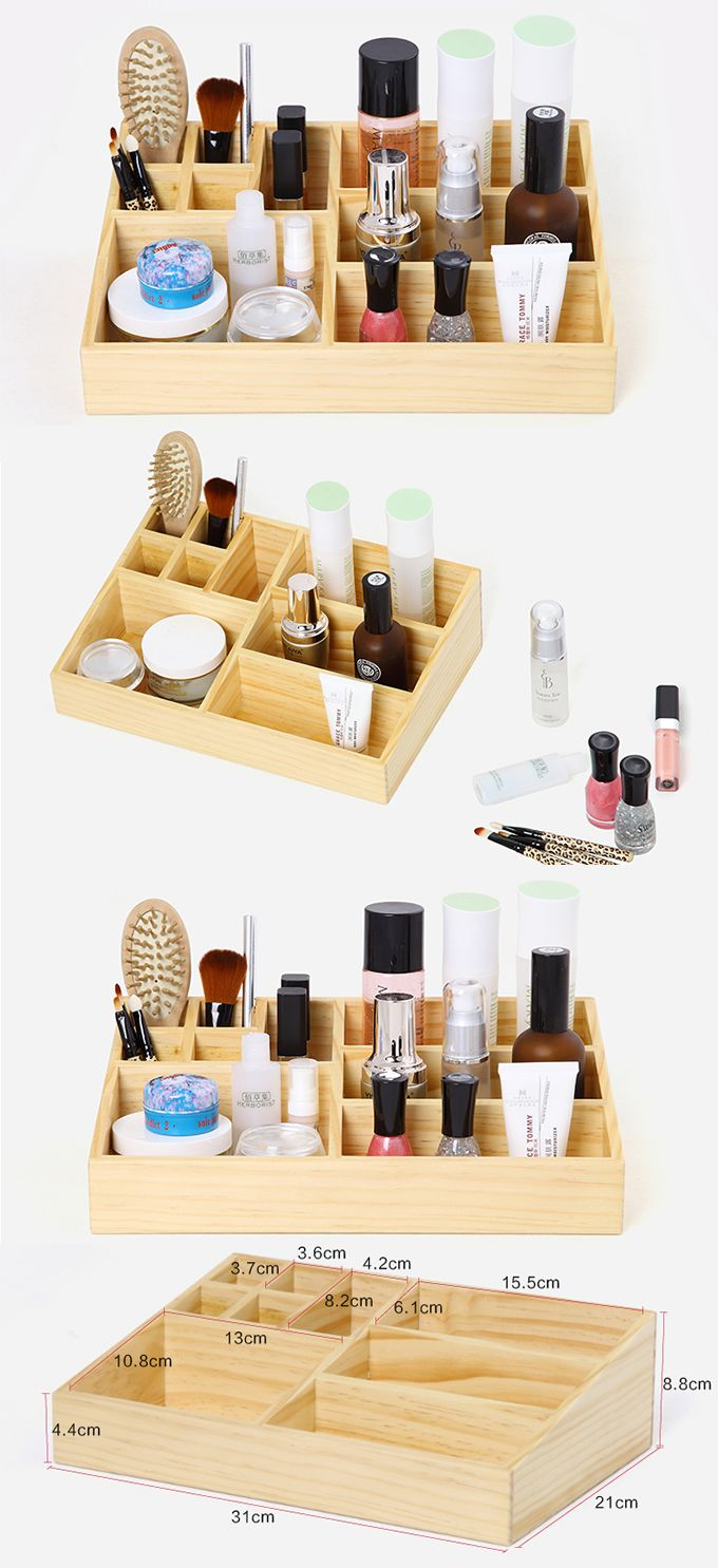 Bamboo Makeup Brushes: Bamboo Wooden Makeup Storage Organizer Drawer Organizer