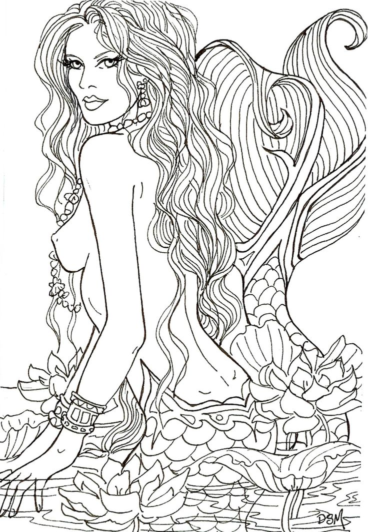 lotus sighting by artist diane s martin mermaid fantasy myth mythical mystical coloring for adultsadult coloring pagescoloring