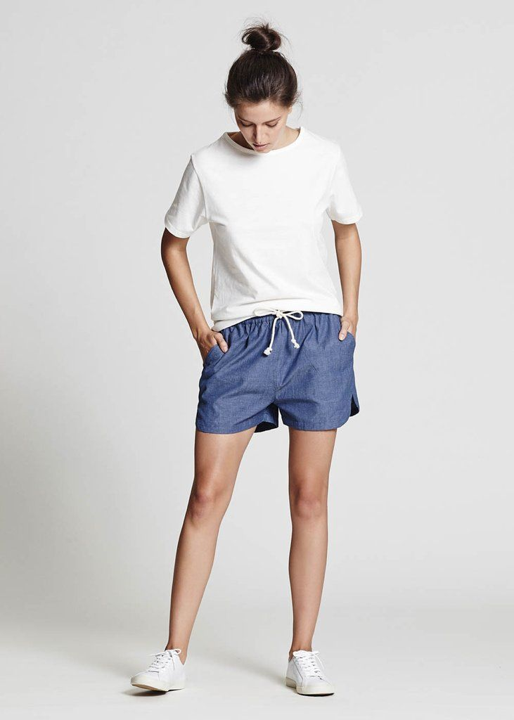 Relaxed Chambray Shorts