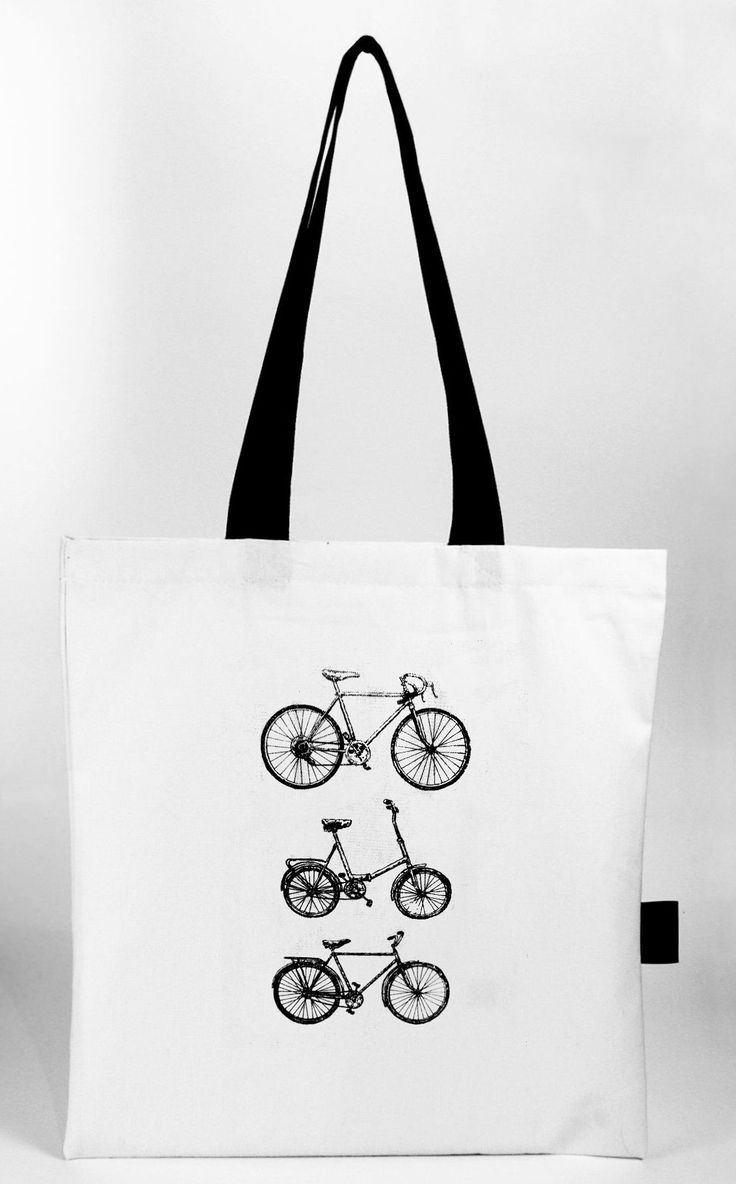 Hand screen printed cotton tote bag with bikes