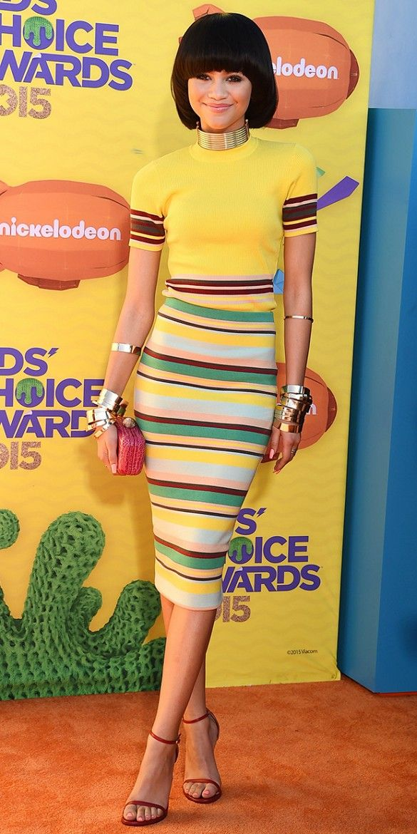 Zendaya in a striped DKNY ensemble on the red carpet at the Kids Choice Awards: