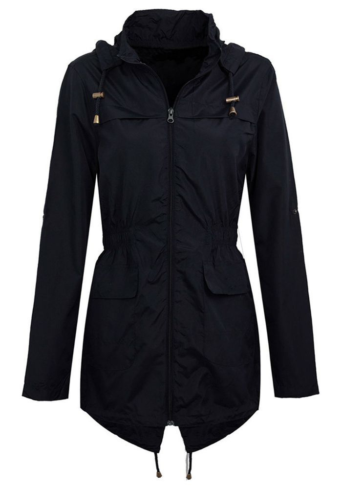 New Womens Hooded Plain Lightweight Jacket Waterproof Rain Coat Mac